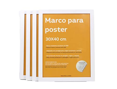 Nacnic Set de 4 Marcos Blancos para Fotos, Posters, láminas, Diplomas. Tamaño(30x40 cm). Robustos de MDF y Frontal de plexiglas. Marcos Blancos para Colgar
