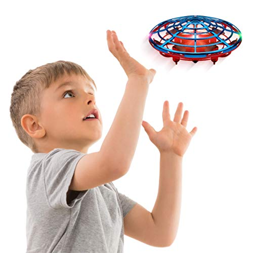 Force1 Scoot Combo Hand Operated Drone for Kids or Adults - Hands Free Mini Drone, Easy Indoor Small UFO Flying Ball Drone Toys for Boys and Girls (Red/Blue)