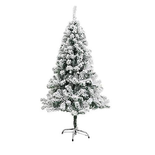 Árbol De Navidad Flocado Blanco, Escena Navideña con Árbol De Nieve Artificial, con Soporte De Metal Árboles De Navidad Artificiales De PVC De Navidad para Decoración Navideña De Oficina O Fiesta En