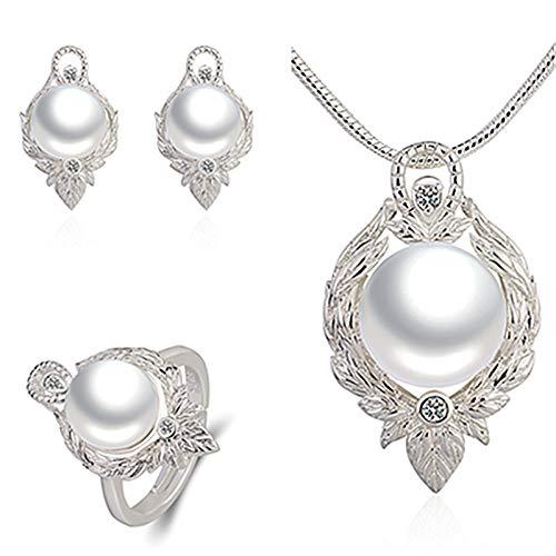 Colgante de Perlas Conjunto de Joyas de Perlas Anillo Pendientes Collar de Mujer Colgante de lágrima Colgante de Hoja Plateado