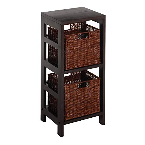 Leo Wood 2 Tiered Shelf with 2 Rattan Baskets