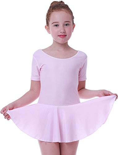Seawhisper Ballett Trikot Mädchen Ballettkleidung Kinder mit Tütü Kurze Ärmel Rosa 110-116