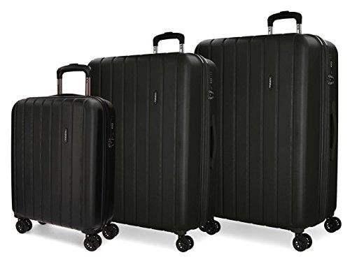 Movom Wood Juego de maletas Negro 55/65/75 cms Rígida ABS Cierre TSA 220L 4 Ruedas Dobles Equipaje de Mano