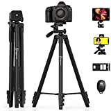 KINGJUE 60'' Camera Phone Tripod Stand Compatible with Canon Nikon DSLR with Universal Tablet Phone Holder Remote Shutter and Carry Bag Max Load 6.6LB