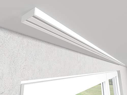 Market-Alley Vorhangschiene Aluminium Weiß Gardinenschiene ; 2-/ 3-/ 4-läufig ; 120cm-600cm. Für Kräuselband Gardinen oder Schiebevorhang (2-läufig ; 240cm ; nur Gardinenschiene)