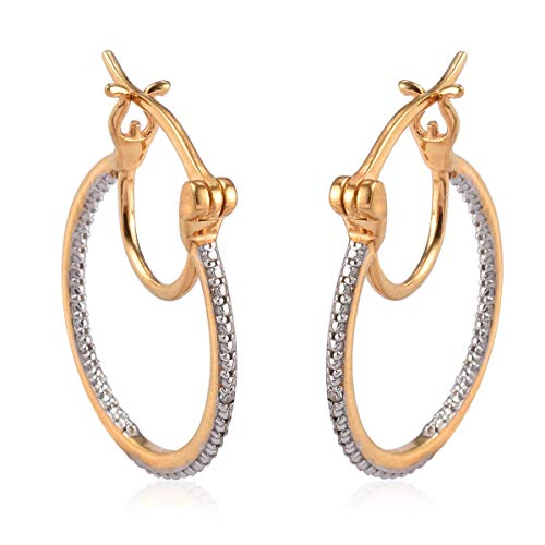 TJC White Diamond Hoop Earrings for Women Perfect Gift for Christmas/New Year in 14ct Gold Plated 925 Sterling Silver