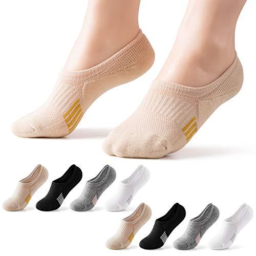 8 Pairs No Show Athletic Socks Hiking Running Low Cut Cushion Socks For Women Men No Slip Off Ankle Socks M 1