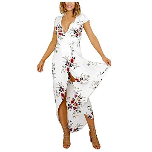 Xjp Maxi Kleider Frauen gedrucktes kurzes Hülsen-Kleid-Weiß (XL)