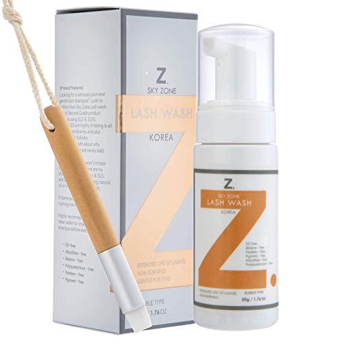 Sanfter Wimpernshampoo für Wimpernverlängerung - Wimpernpflege ohne Brennen - Wimpern Shampoo für Wimpernverlängerung inkl. Wimpernbürste 50ml