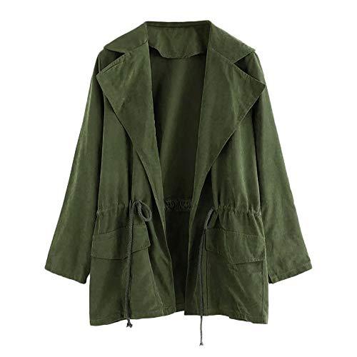 Strickjacke Kolylong Damen Elegant Einfarbig Revers Jacke Kurz Herbst Winter Leicht Windjacke Tasche Mantel mit Wasserfall Trenchcoat...
