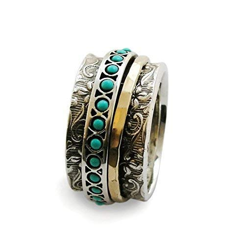 925 Sterling Silver Band /& Turquoise stone Spinner Ring Handmade All size BU-328