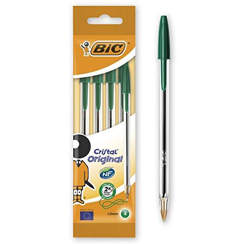 Bic Cristal Original Punta Media 1 mm Confezione 4 Penne Colore Verde