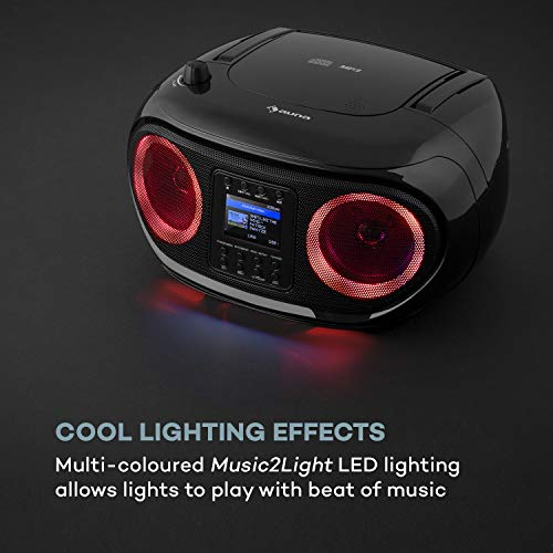 auna Roadie Smart Boombox, SmartRadio: Internetradio/DAB+ / UKW, CD-Player, Stereoanlage, USB-Port, MP3, Bluetooth, 3,5 mm-Cinch-Klinke-AUX-Eingang, mehrfarbige LED-Beleuchtung, schwarz