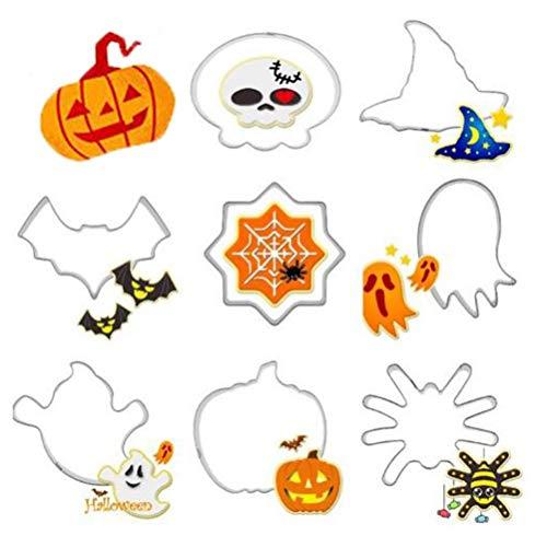 Hosaire 8 Piezas Mini Cortador de Galletas de Metal Conjunto de Dibujos Animados de Halloween Molde para Hornear (Halloween)