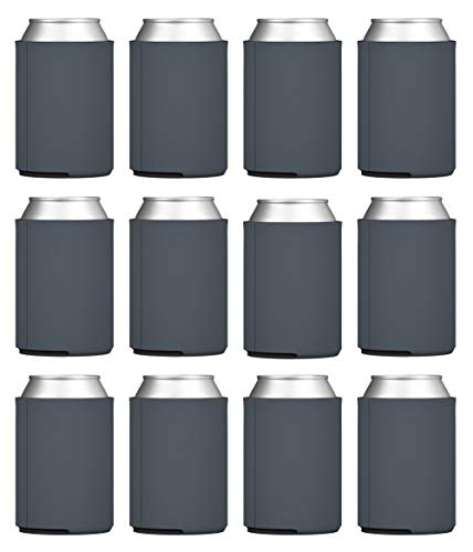 TahoeBay Blank Beer Can Coolers, Plain Bulk Collapsible Foam Soda Cover Coolies, Personalized Sublimation Sleeves for Weddings, Bachelorette Parties, HTV Projects (Charcoal)