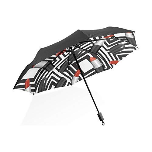 Paraplu lippenstift naadloos patroon rood 3 vouwen lichte anti-UV