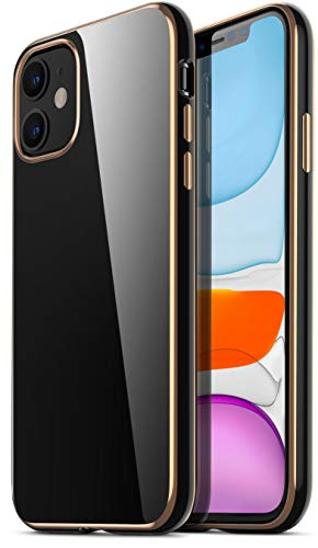RANVOO Kompatibel mit iPhone 11 Hülle Silikon Slim Schwarz Rücken und verzierte Gold Ränder Hülle Schutzhülle Cover Handyhülle für iPhone 11, Golden