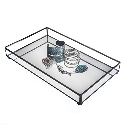 Mirrored Glass Tray Decorative Bathroom Vanity Cosmetic Makeup Organizer Jewelry Display Perfume Holder Dresser Home Décor Candle Tray J Devlin Tra 109