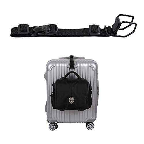 Luggage Strap,J Hook Add A Bag Luggage Strap, Adjustment Luggage Belt Strap Attach Luggage Accessories with Hands Free(Black-Medium Size)