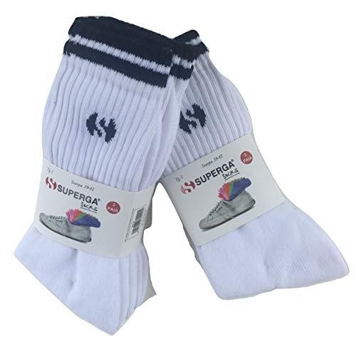.SUPERGA.. 6 PAIA calze sportive in spugna, calze da tennis,metà polpaccio, NERO,BIANCO,GRIGIO, ASSORTITO (43-46, BIANCO)