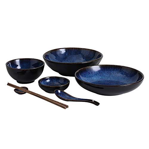Bol Ensemble de vaisselle japonaise plat en céramique plat plat à la maison bol bol à soupe bol de riz poisson créatif plat plat assiette -3 combinaison (taille : 32 pieces)