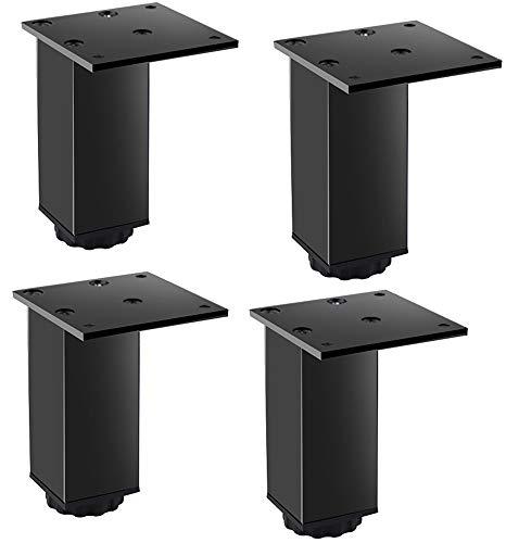 4 patas de metal ajustables de acero inoxidable para cocina, cuadradas, color negro, 80 x 70 mm, con tornillos