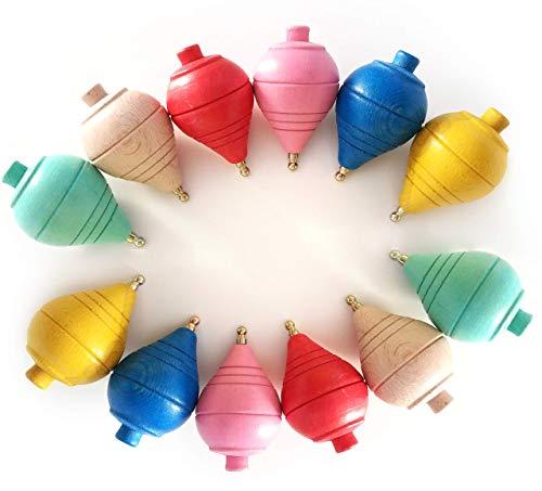 GERILEO Lote de 4/8/12 Peonzas de Madera clásicas de Colores - Regalos y Detalles para Comuniones, piñatas, Niños, Niñas, Fiestas de Cumpleaños, Trompas, peón, trompo, trompón, Spinner, perinola