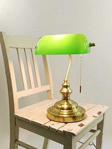 Bankers-Lampe-Lamp Tischleuchte-Lampe mit Zugschalter Fassung E27 Bankerlamp Schreibtischleuchte messing Schirm grün Arbeitsleuchte Nachtischlampe Tischlampe Nostalgielampe (messing-grün)