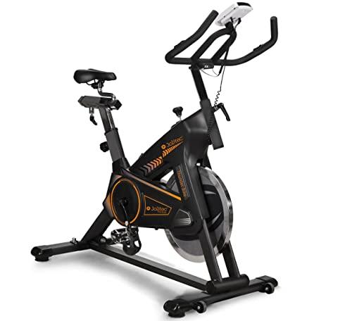 Jolitec. Thunder Bike. Bicicleta Spinning. Volante de inercia 20kg, nivel avanzado, bicicleta profesional, resistencia ajustable, funcion scan, pantalla LCD, Fitness