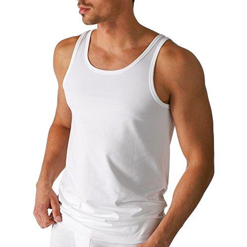 Mey 2er Pack Herren Tanktop – Größe 7 – Weiß – Männer Tank Top - Coolmax-Fasern – Shirt Rundhals - Unterhemd ohne Arm – 46000 Dry Cotton