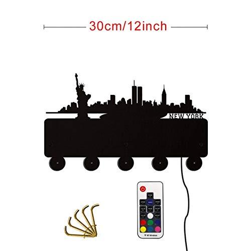 HIDFQY Ciudad de Nueva York Gancho de Pared de Madera Iluminado Percha de Llave Baño Cocina Retro Gancho nostálgico Perchero Americano Skyline Perchero Sombrero Percha con LED