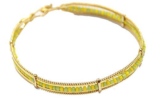 Mano de Orula 18K chapado en oro 23/4pulgadas–Mano de Orula verde y amarillo 7mm brazalete