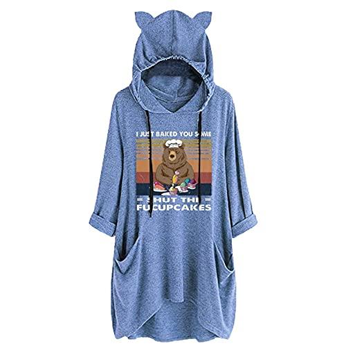 Briskorry Sudadera con capucha para mujer con diseño de gatos, para invierno, grande, grande, con capucha, para adolescentes y niñas