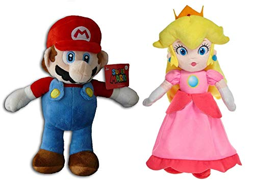 WHITEHOUSE LEISURE Super Mario Bros - Pack 2 Peluches Mario Bros (33cm) y Princesa Peach (35cm) de Super Mario