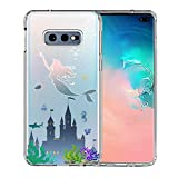 Galaxy S10e Case, Unov Clear with Design Soft TPU Shock Absorption Slim Embossed Pattern Protective Back Cover for Samsung Galaxy S10e 5.8inch (Mermaid Castle)