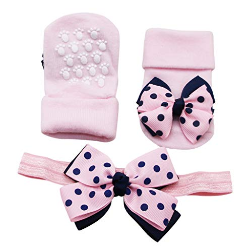 Fenverk Bio-Baumwolle Babysocken Für 0-2 Jahre Jungen MäDchen Neugeborene Kleinkind Dicke Warm Socken Unisex-Baby HüTtenschuh Anti-Rutschsohle SöCkchen Mit Haarband