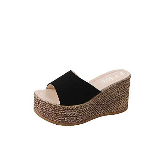 Askwho Ciabatte Donna con Zeppa Estive Eleganti Comode Leggere Sandali Pantofole Scarpe da Casa e Spiaggia e Mare Peep Toe Sandalo Sandaletti con 9cm Plateau Suola Morbida Antiscivolo