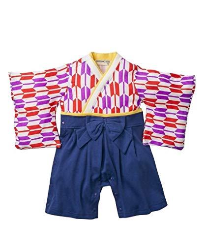 [nissen(ニッセン)]ベビーカバーオール・ツーウエイオール矢絣和風袴ロンパース(女の子子供服・ベビー服)赤系70