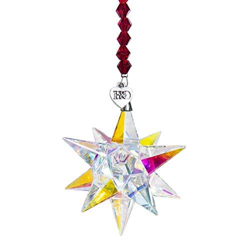H&D Kristall Regenbogen Sonnenfänger Hängender Fensteranhänger Glasweihnachtsdekor-Geschenke,41.5cm x 5.0cm