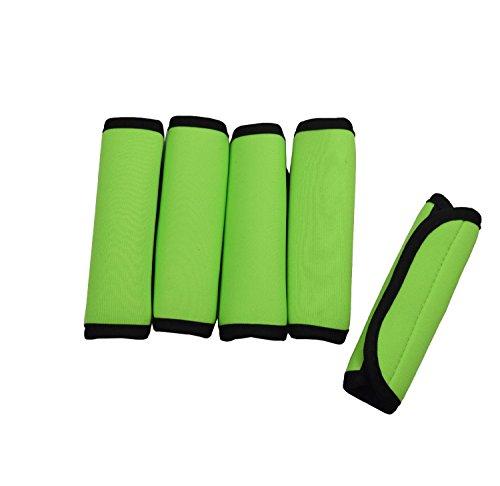 Case Wonder Packung mit 5 Soft Comfort Neopren Wasserdicht Kofferanhanger Handgriff Grip / Identifier / Handgepäck für Reisetasche Gepäck-Koffer (Grün)