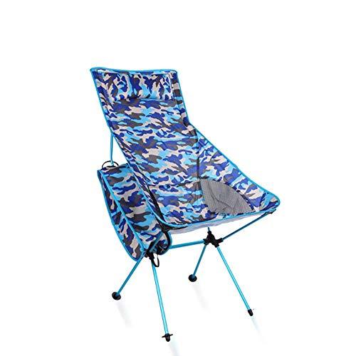 ZJING Outdoor Aluminiumlegierung Camouflage Klapp Strand Stuhl Blau multifunktions Berg Camping Freizeit Stuhl Grün Lange Klappstuhl (100 * 40 * 90 cm),Blue