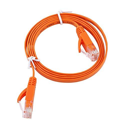 Pangdingk Cables de enrutador de Parche Aislante portátil de 250 MHz, Cable LAN Plano de atenuación pequeña Naranja, diafonía Baja de 1000 Mbps para Oficina en casa(1M)