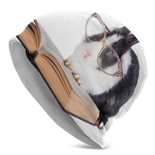 Kteubro Little Rabbit Gafas De Lectura Unisex Gorros Gorro De Cráneo Gorro De Punto Sombrero De Invierno Caliente Sombreros