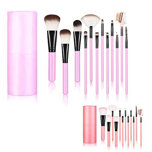 Qpower 12 Pcs Professional Core Makeup Brush Set Foundation Blending Blush Eyeliner Powder Kit Makeup Tool with Cup Plastic Holder Best Birthday Gift for Lover (Random Color)