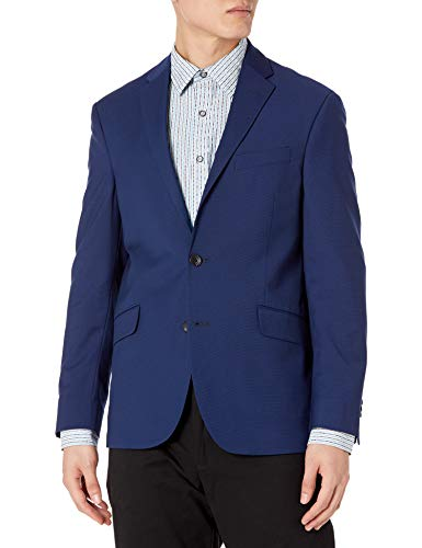 Kenneth Cole REACTION Men's Techni-Cole Stretch Slim Fit Suit Separate Blazer (Blazer, Pant, and Vest), Modern Blue, 36 Short