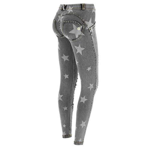 Freddy Star Print WR.UP® Regular-Rise Super-Skinny Broek - Grijze Jeans-Gele Naden - Klein