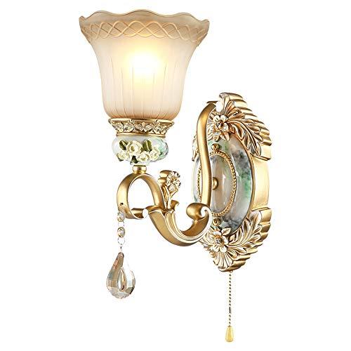 Résine De Fer Européen Sculpté Cristal Salon Mur Lampes Avec Interrupteur E27 Salle D'étude Chambre Côté De La Chambre Escalier Corridor Mur Lampe,Singlehead