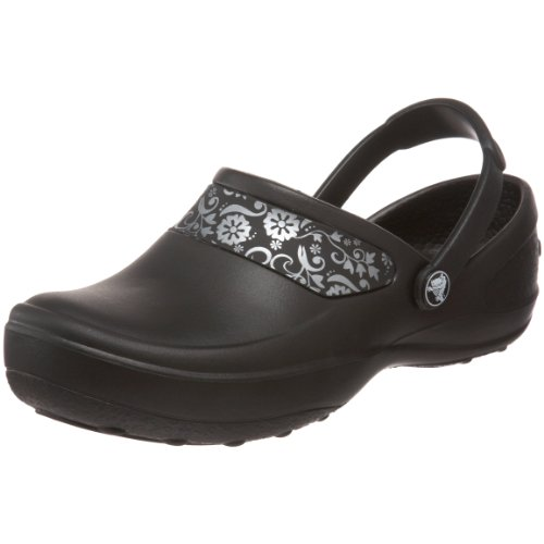 Crocs Women's Mercy Work Clog, Black/Silver, 10 M US