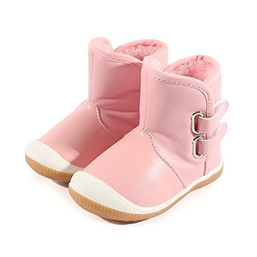 LACOFIA Kleinkind Baby Mädchen rutschfest Gummisohle Wasserdicht Winter Schnee Stiefel Rosa 21/22 EU