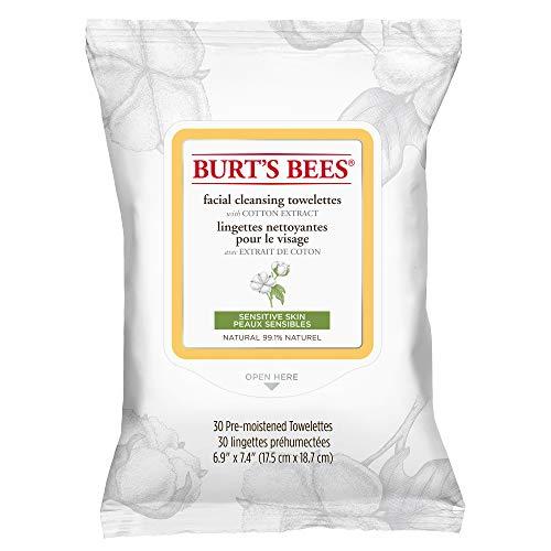 Burt's Bees Natürlich Feuchttücher zur Gesichtsreinigung für empfindliche Haut mit Baumwollextrakt, 1er Pack x 30 Stück